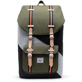 Herschel Little America Rugzak, black/ivy green/light grey crosshatch